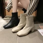 短靴 靴子女2020秋款馬丁靴秋冬季高跟新款女鞋百搭粗跟網紅瘦瘦短靴女 中秋降價