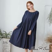 【Tiara Tiara】 傘下擺長袖純棉洋裝(深藍/淺藍)