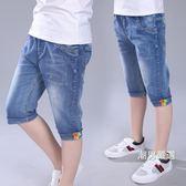 一件免運-牛仔短褲兒童中褲牛仔短褲夏季中大童棉質薄款小男孩褲子男童七分褲12歲15