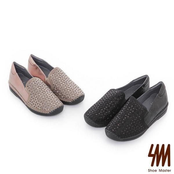 ★新品上市★【SM】全真皮-手縫馬克雷雕休閒厚底懶人鞋(黑色)