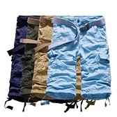 短褲 七分-純色百搭舒適寬鬆男工裝褲4色73ml42【巴黎精品】