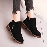 新品2021秋冬馬丁靴女鞋子低幫鞋學生韓版磨砂圓頭低跟短靴 百分百