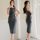 洋裝 禮服0736#新款韓版名媛氣質中長款修身抽褶時尚包臀打底裙職業連身裙ZLE49依佳衣