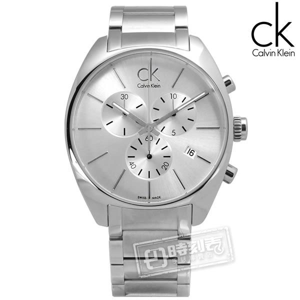 CK / K2F27126 / 歐美都會大勁三環計時不鏽鋼腕錶 銀色 44mm★加購鋼化玻璃膜★