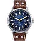 【送米奇電扇】CITIZEN 星辰 光動能萬年曆手錶-藍x棕/44mm BX1010-11L
