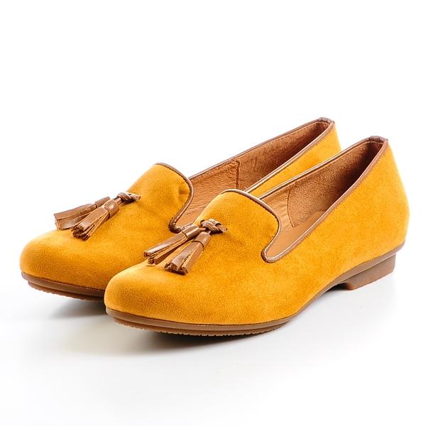 GREEN PINE 復古流蘇樂福鞋-黃色