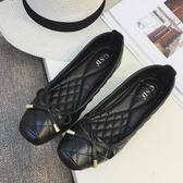 歐美風黑色大碼平跟女鞋豆豆蝴蝶結淺口方頭平底單鞋工作鞋41『小淇嚴選』