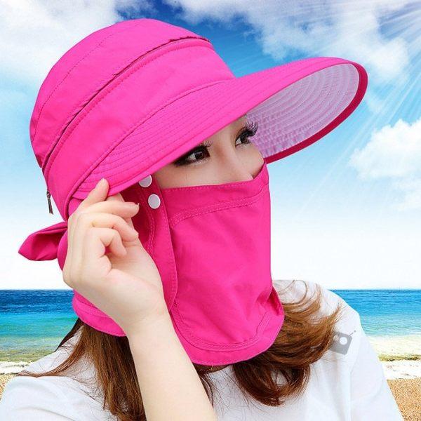 【OD0108】夏季女士護臉防曬帽 360度全罩式遮陽帽子採茶帽沙灘帽休閒帽太陽帽抗UV防紫外線