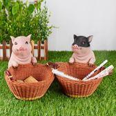 家居放鑰匙的玄關收納擺件門口鞋櫃桌面收納盒裝飾品可愛小豬