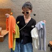 短版上衣 短款冰絲空調防曬衫女2019夏季外搭薄款V領長袖針織開衫外套上衣