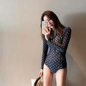 韓國新款游泳衣女專業連體遮肚性感顯瘦長袖防曬保守溫泉泳衣