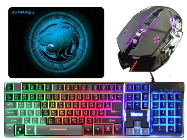 電競同捆包 電競滑鼠+電競鍵盤+電競鼠墊 YAMA懸浮式 機械手感鍵盤