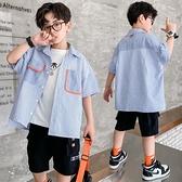 男童襯衫-男童純棉條紋短袖襯衫夏季寬鬆休閒上衣兒童中大童襯衣洋氣個性潮