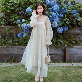 網紗泡泡袖連身裙兩件套套裝溫柔風仙女長裙