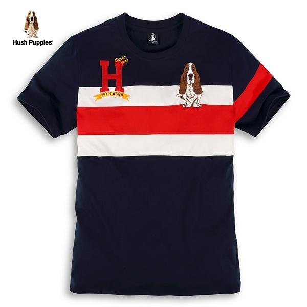Hush Puppies T恤 男裝H貼布配色剪接刺繡狗短袖T恤