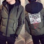 夾克外套-連帽後背時尚印花秋冬夾棉男外套3色73qa23【時尚巴黎】