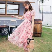 夏日立體時尚印花V領清新雪紡洋裝[98881-QF]小三衣藏