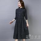 春秋季新款女裝民族風裙子寬鬆顯瘦碎花棉麻...