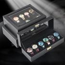 手錶盒 歐式手表收納盒碳纖維手表盒子天窗腕表整理收藏展示盒手鏈首飾箱 JD寶貝計書