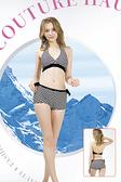 【M9423 】梅林泳裝降價↘特賣~大女黑白線條比基尼褲綁帶二件式泳衣 贈泳帽