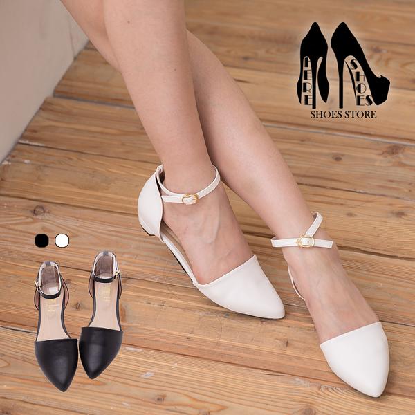 [Here Shoes] 台灣製 嚴選皮革繞踝 低跟尖頭包鞋 瑪莉珍鞋 2色─KW326