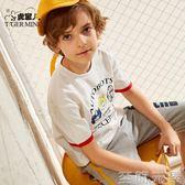 男童T恤童裝男童t恤純棉短袖2019夏季新款兒童假兩件中大童上衣潮童韓版 至簡元素