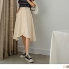 《CA2260》高含棉高腰後鬆緊排釦造型A字裙 OrangeBear