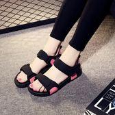 夏季女士厚底羅馬涼鞋2018新款外穿沙灘鞋學生平底防滑百搭韓版 【PINK Q】