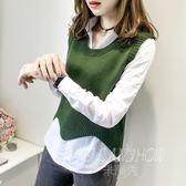 毛衣馬甲兩件套 韓版百搭顯瘦針織背心針織衫