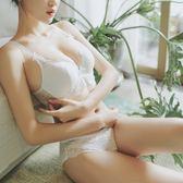 性感蕾絲女士白色內衣小胸厚模杯聚攏美背調整甜美軟鋼圈文胸套裝   mandyc衣間
