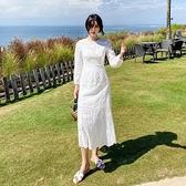 長袖洋裝-蕾絲花邊鏤空白色女連身裙73ye47[巴黎精品]