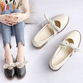 牛津鞋 日系復古瑪麗珍女鞋夏新款韓版粗跟單鞋休閒百搭平底蝴蝶結小皮鞋 芭蕾朵朵