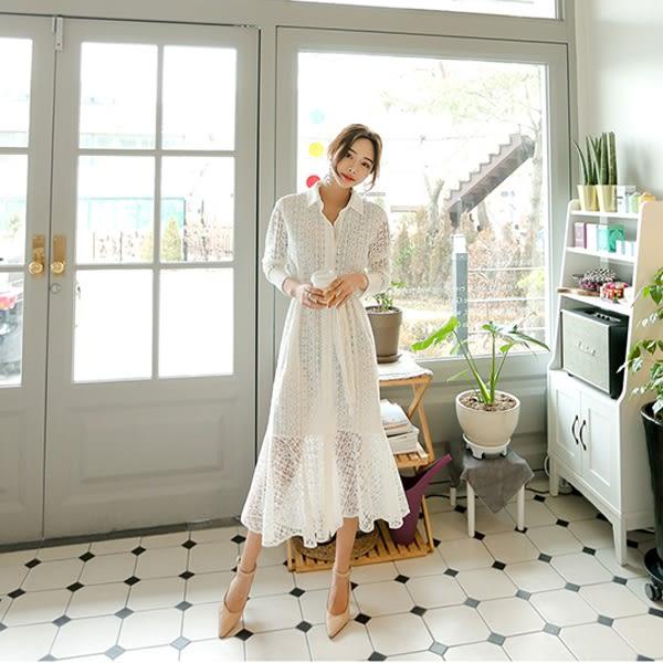 Qmigirl 實拍韓版襯衫式蕾絲繫帶長袖魚尾連身裙 洋裝【WT785】