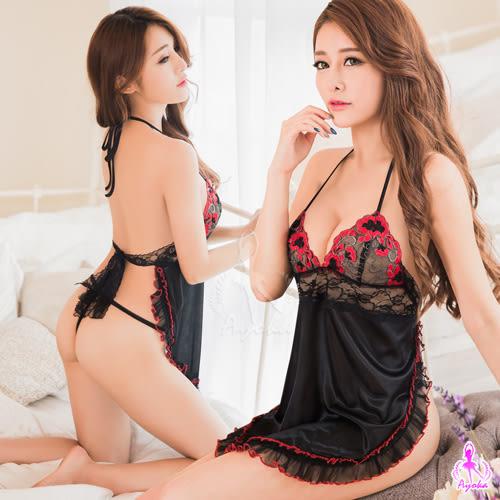 (特價) 黑紅撞色刺繡肚兜款二件式睡衣 (OS小舖)