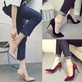 新款高跟鞋尖頭黑色工作鞋中跟女鞋裸色細跟淺口單鞋伴娘紅色婚鞋
