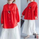 漢服名族風唐裝棉麻寬鬆襯衫蝙蝠袖寬鬆大尺碼加肥胖妞顯瘦長袖襯衣紅色【萬聖節推薦】