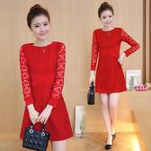 限時38折 韓國風名媛蕾絲拼接工藝收腰禮服長袖洋裝