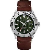 GIORGIO FEDON 1919 海洋系列200米機械錶-綠x咖啡皮帶/47mm GFCH008