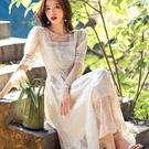 高質感刺繡蕾絲五分袖長雪紡腰身洋裝[99126-QF]美之札