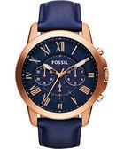 FOSSIL 旗艦玩家復刻計時手錶-藍x玫塊金/44mm FS4835IE