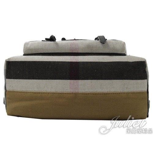 茱麗葉精品【全新現貨】 BURBERRY 3996226 CANVAS格紋棉麻拼接旅用後背包.黑