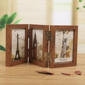 三折木質相框相片框擺臺復古文藝相框