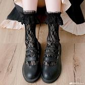 洛麗塔襪子女中筒襪春秋黑色蕾絲花邊堆堆襪短襪公主風 檸檬衣舍
