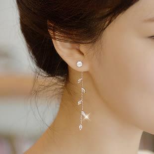 Star 日韓系列 -樹葉鑲鑽長款耳釘 - D119
