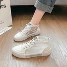高筒鞋 高幫小白鞋2021年春夏新爆款網紗時尚百搭平底休閒老爹運動潮女鞋