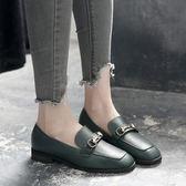 39/綠色 復古小皮鞋女英倫學院風春季新款韓版百搭學生中跟方頭單鞋潮 B0017