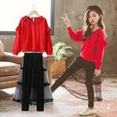 女童秋裝2018新款套裝女洋氣韓版時髦時尚中大童女孩潮衣服兩件套  初見居家