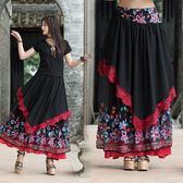 洋裝 夏季新款復古民族風女裝繡花半身裙大擺裙網紗長裙