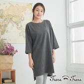 【Tiara Tiara】百貨同步aw 落肩半袖長短版洋裝(灰)