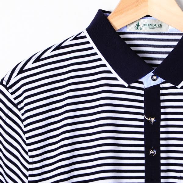 John Duke 經典條紋POLO衫-黑白